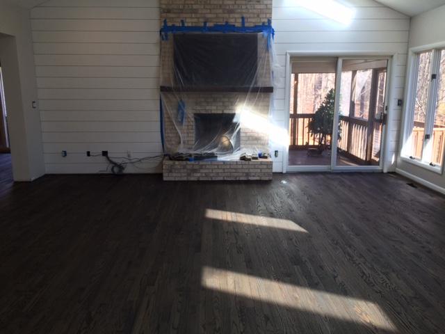 Dark hardwood floors refinished on The Greenspring Home blog