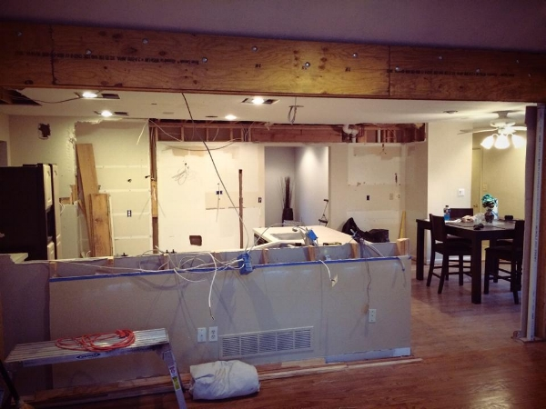 Wall removal during our living room renovation on the Greenspring Home blog