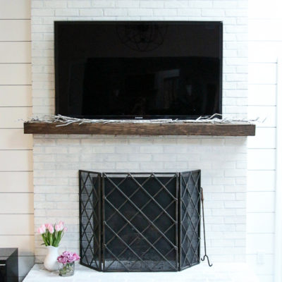 How To Whitewash Your Brick Fireplace with Milk Paint