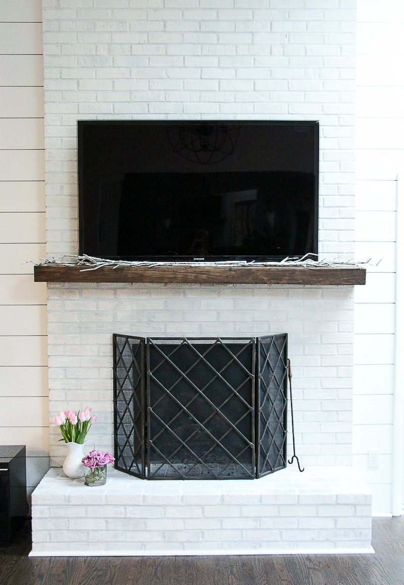 Brick Fireplace Part - 39: Brick Fireplace Makeover DIY