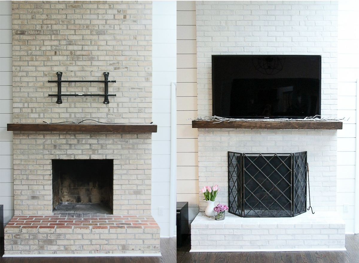 Brick Fireplace Makeover - Click for Easy DIY Tutorial