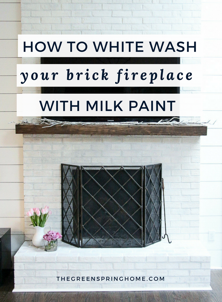 Whitewash Brick Fireplace Makeover