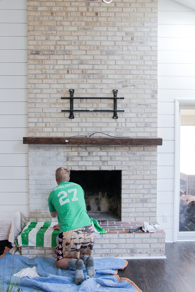 How To Whitewash Your Brick Fireplace with Milk Paint - Easy Step-by-Step Tutorial