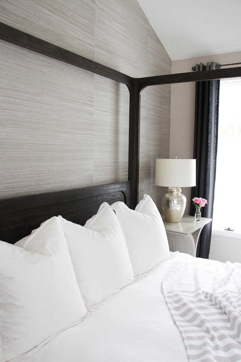 All White Bedding Ideas | Grasscloth Wallpaper | Pottery Barn Bedding | Euro Pillow Styling | Textured Wallpaper Feature Wall