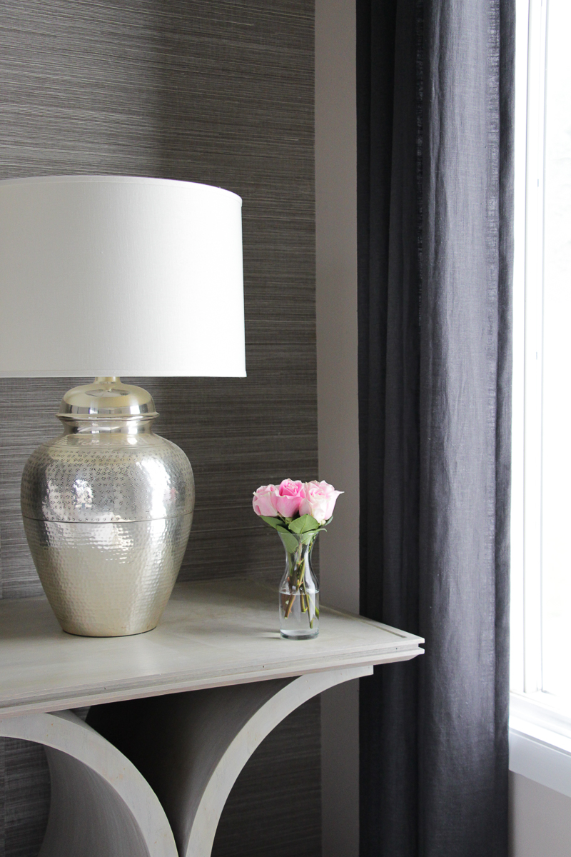 Open Nightstand Décor Ideas | Metallic Lamp Base | Decorating with Fresh Flowers | Neutral Bedroom Décor Ideas | Curved Table Design | Unique Bedside Tables | Unique End Tables | Custom Made Furniture