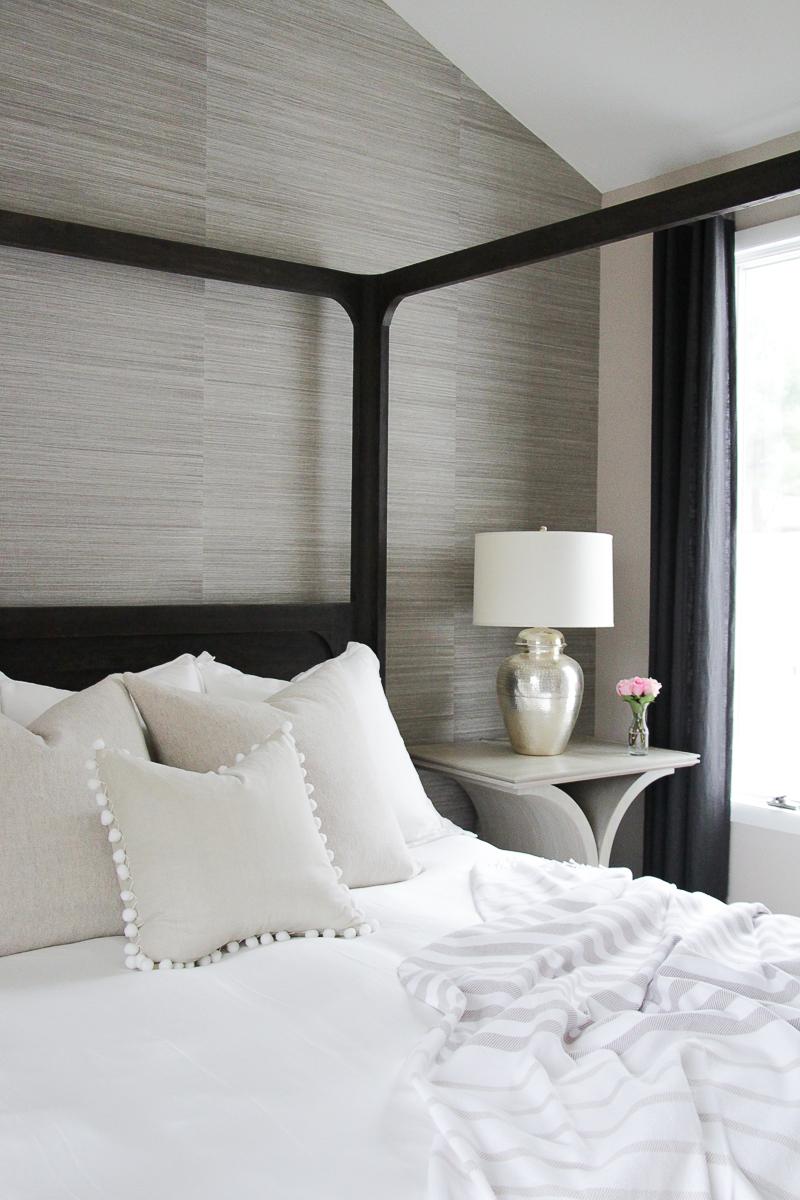 Spring Bedding Refresh Ideas   Spring Bedding Makeover   All White Bedding Ideas   Neutral Bedroom Décor Ideas   Grasscloth Textured Wallpaper