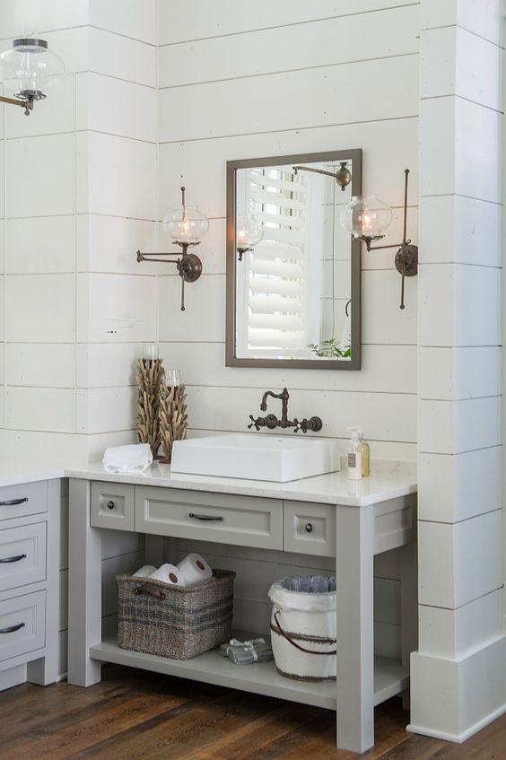 Black Wall Mounted Faucet | Shiplap Walls Bathroom | Gray Bathroom Vanity