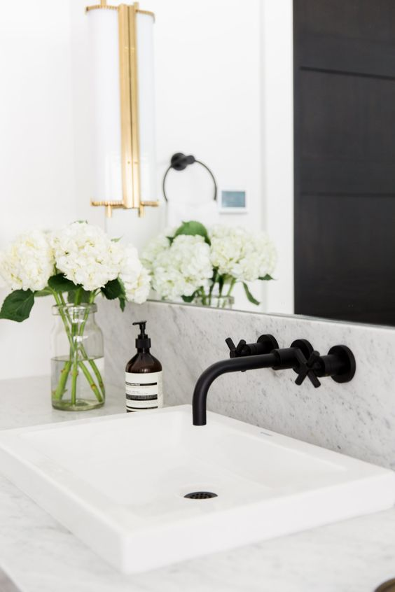 Black Wall Mounted Faucet | Marble Countertop Bathroom | Studio McGee Projects