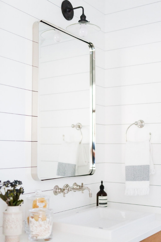 Shiplap Walls Bathroom | Chrome Wall Mounted Faucet Ideas | Pool Bathroom Design Ideas | Studio McGee Projects