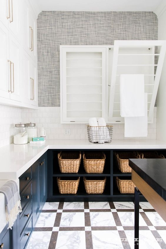 Built ins for Laundry Baskets | Laundry Room Organization | Laundry Room Design Tips