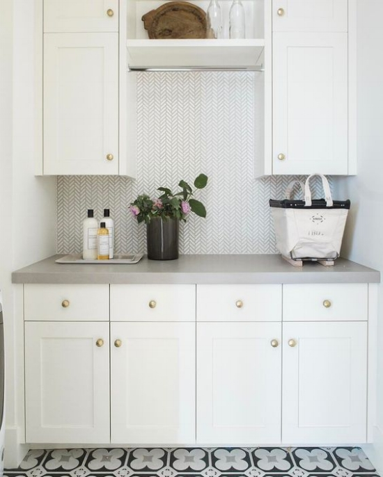 Laundry Room Wallpaper Ideas | Wallpaper Laundry Room | Herringbone Wallpaper