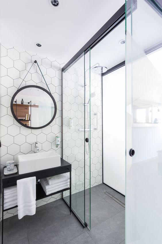 White Hexagon Tile | Hexagon Wall Tile Bathroom | Modern Bathroom Design Ideas | Steel Vanity Bathroom