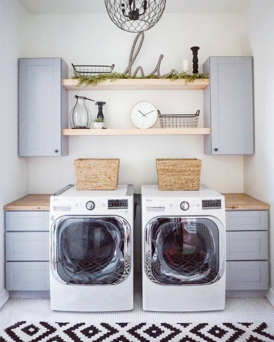 Modern Farmhouse Laundry Room | Open Shelving Laundry Room