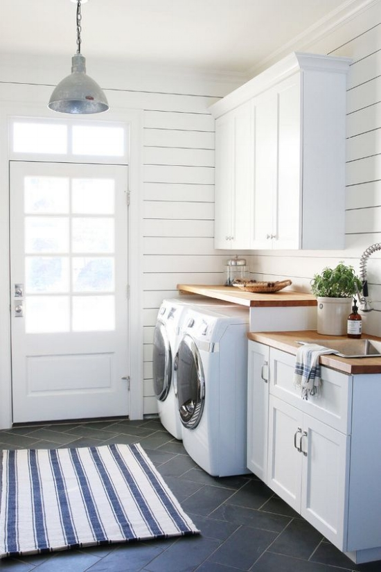 Shiplap Wall Laundry Room | Herringbone Slate Floors | Wood Countertop Laundry Room | White Cabinets Laundry Room