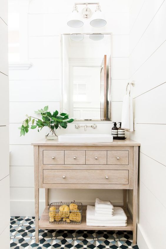 Shiplap Walls Bathroom | Wood Bathroom Vanity Ideas | Unique Floor Tile Ideas | Wall Mounted Faucet | Bathroom Design Ideas