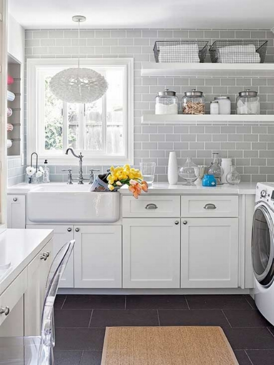 Tile Laundry Room Wall | Laundry Room Tile Ideas | White Laundry Room