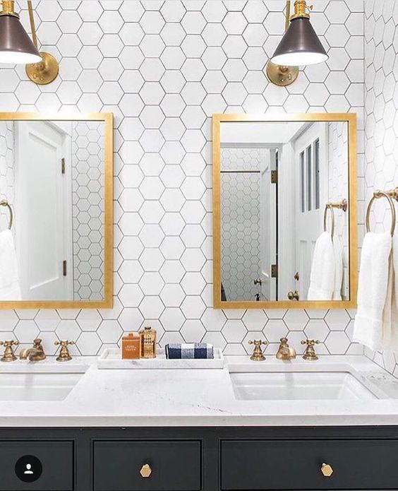 White Hexagon Tile | Hexagon Tile Bathroom | Hexagon Wall Tile | Gold Hardware Bathroom | Glam Bathroom Ideas