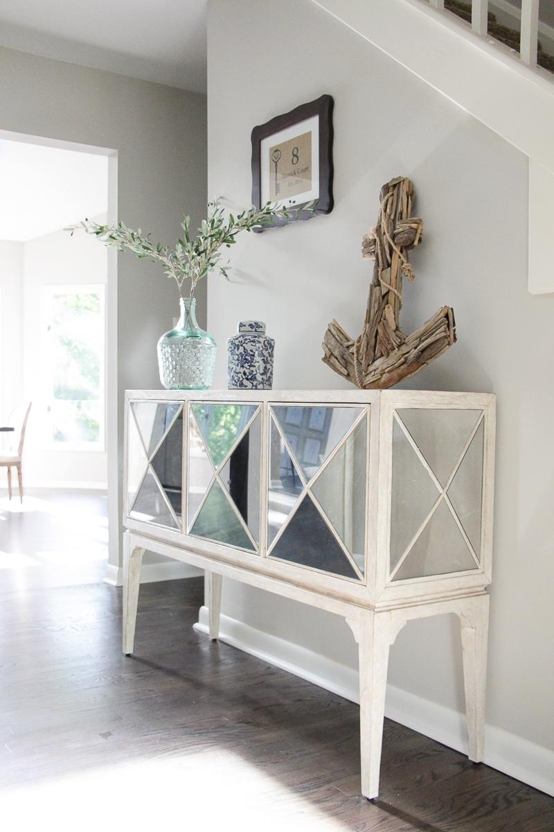 Entryway Table Ideas | Mirrored Console Table | Dark Hardwood Floors | Address Sign