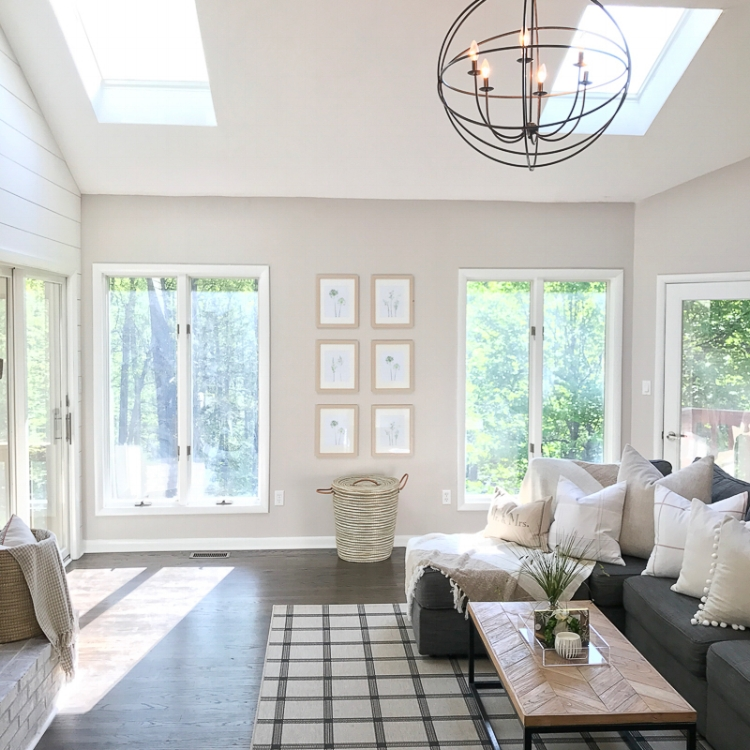 Neutral Living Room Décor Ideas | Vaulted Ceilings Living Room | Grid Gallery Wall