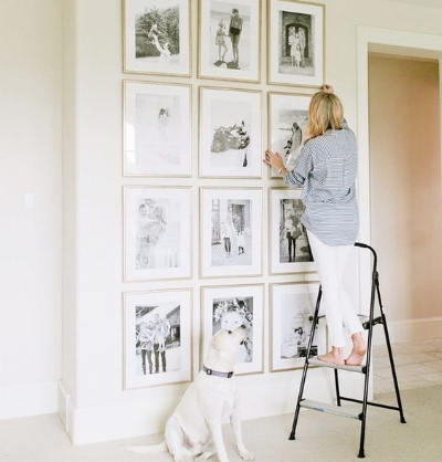 Make this diy symmetrical gallery wall the greenspring home for Picture frame decorating ideas for kids