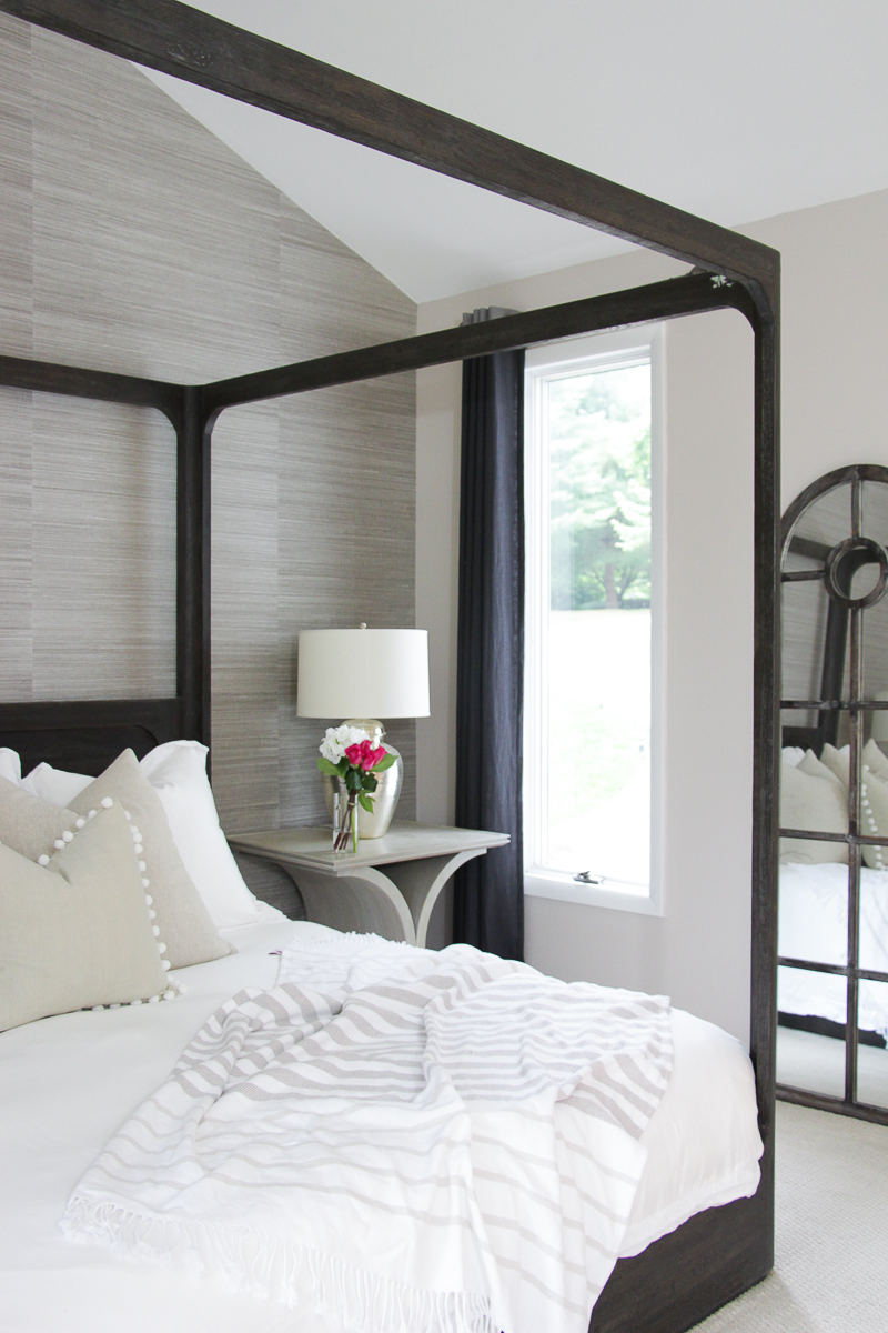 Click To See This Drastic Master Bedroom Makeover Featuring All White  Bedding, Grasscloth Wallpaper,