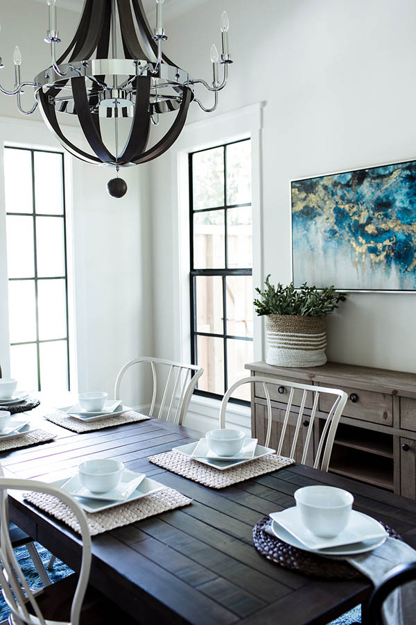 Dining room wall decor ideas. Black trim windows farmhouse. Modern farmhouse dining table and chairs.