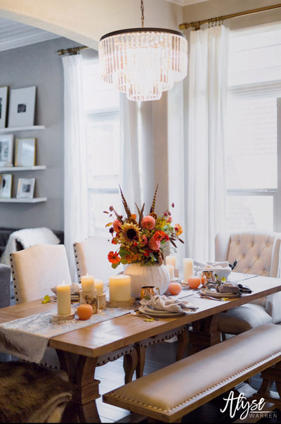 Fall Tablescape Ideas. Fall Table Centerpiece Ideas. Fall Home Tour.