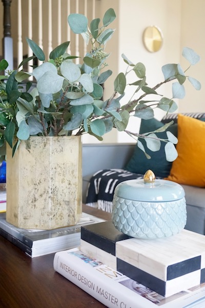 Faux Eucalyptus Stems. Fall Living Room Decor.