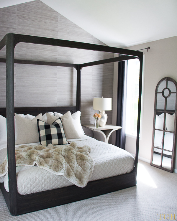 Canopy bed ideas. Grasscloth wallpaper bedroom. Cozy bedding neutral. Fall bedroom decor cozy. Buffalo check decor.