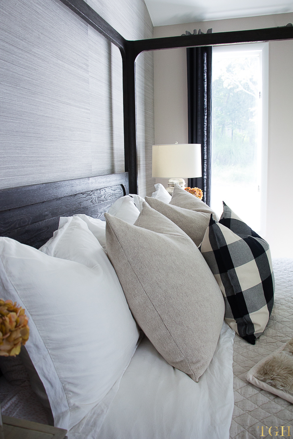 Pillow arrangement on bed king. Euro pillows on king bed. Buffalo check bedding. Cozy bedding neutral.