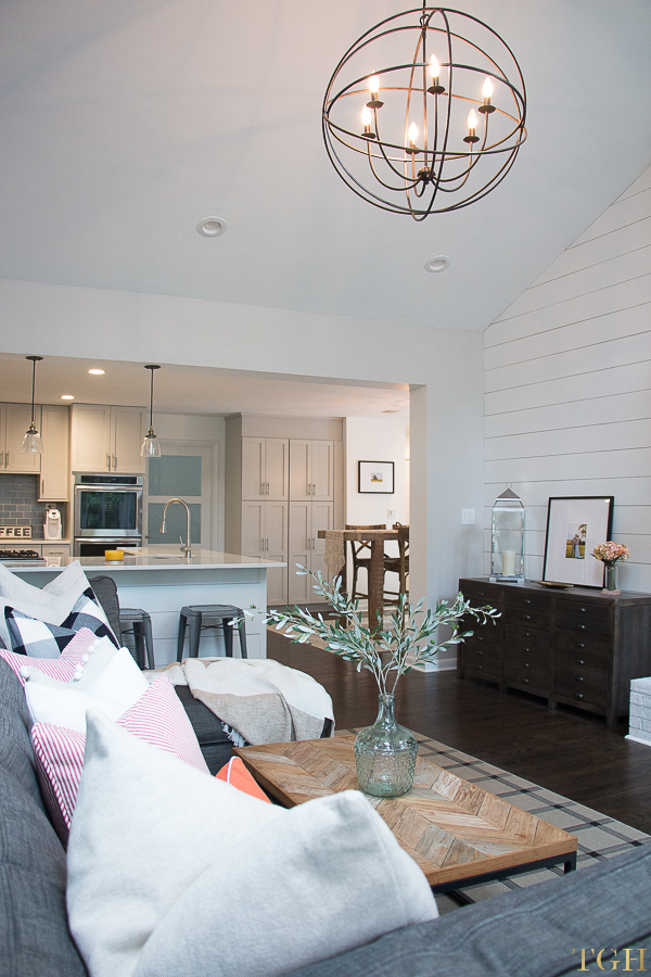 Open Concept Living Room and Kitchen | Open Concept Living Room | Open Concept Kitchen | Shiplap Island | Shiplap Feature Wall | Neutral Home Décor Ideas | Lovesac Sactional | White and Gray Kitchen | Modern Farmhouse Decor