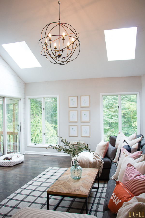 Vaulted ceiling living room. Vaulted ceiling lighting. Gallery wall ideas living room. Lovesac sactional. Neutral Home Décor Ideas. Modern Farmhouse Decor.
