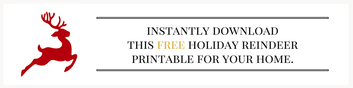 Free reindeer printable for the holidays. Free Christmas printable. Free reindeer printable.