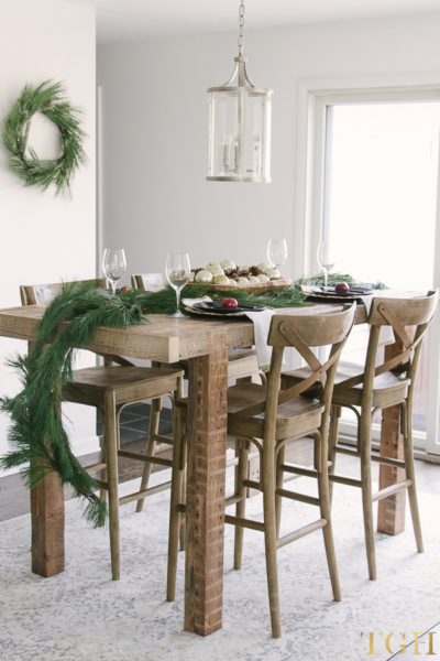 Christmas decorations using fresh greenery