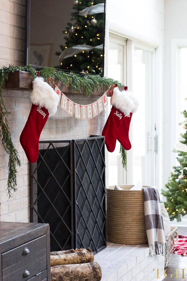 Christmas decorating fireplace mantel photos.