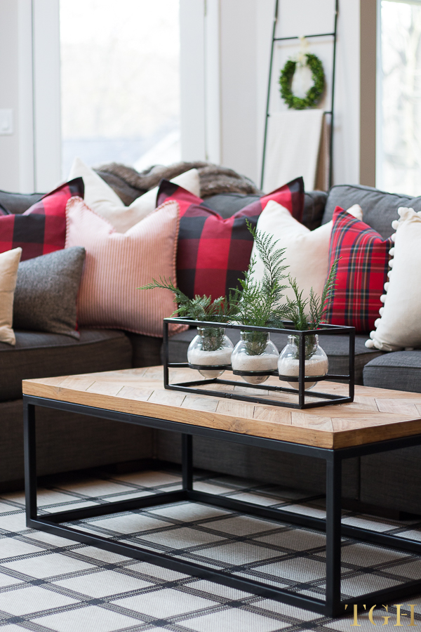 Christmas throw pillow arrangement on couch