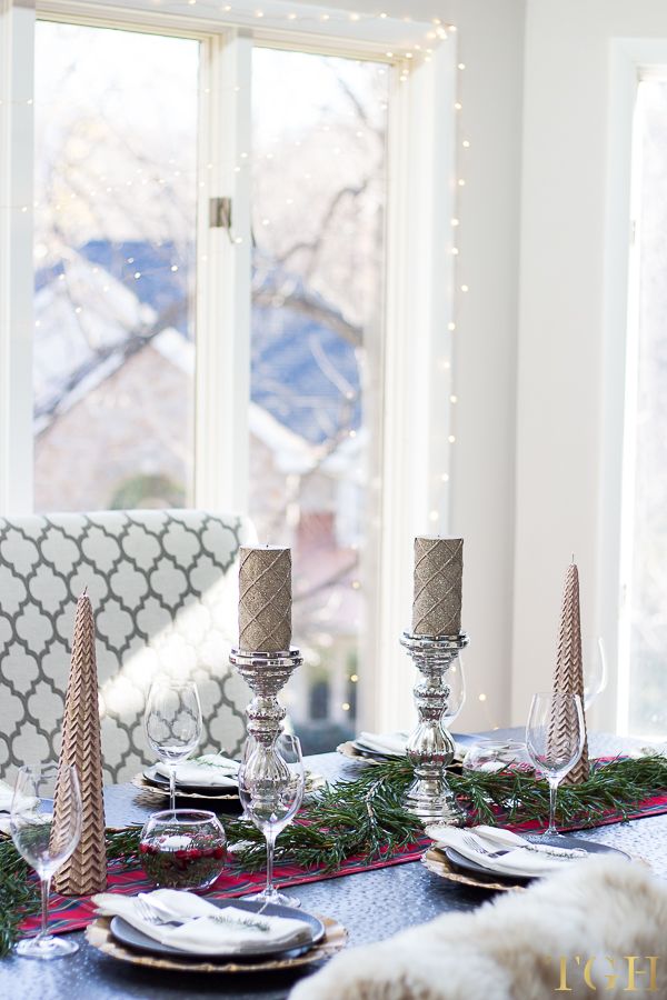 Faux garland table runner Christmas