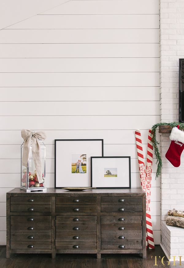 Christmas Decor for Media Centers. Shiplap Feature Wall for Living Room.