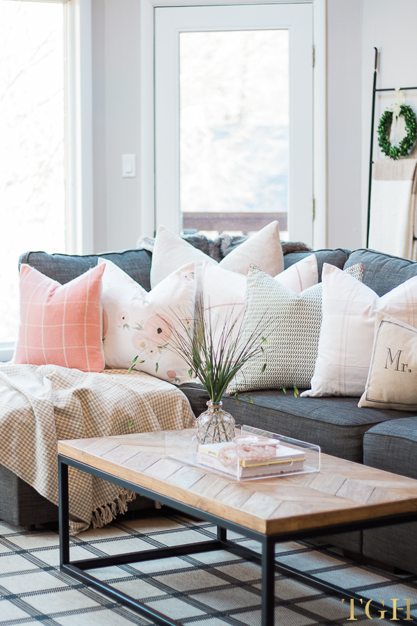 Spring Pillow Arrangement on Sofa
