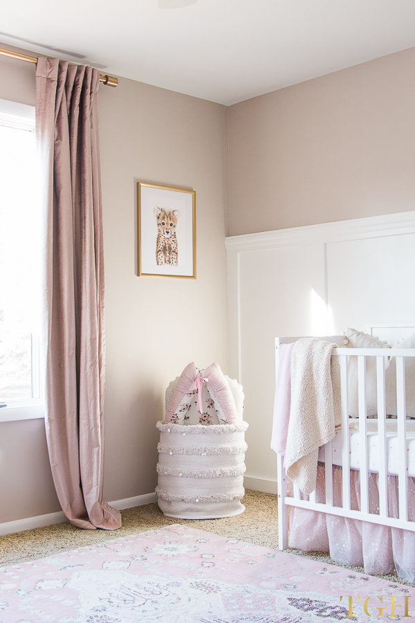 Blush Pink Velvet Curtains with Pink and Gold Baby Room Decor