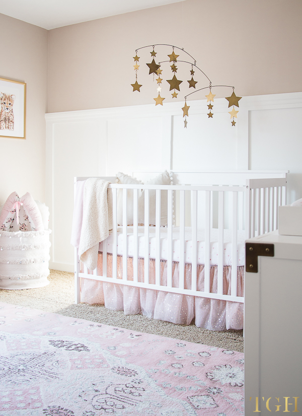 Gold Nursery Mobile with Pink and Gold Nursery Decor
