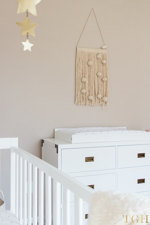 White nursery dresser and changing table topper