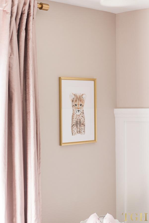 Blush Pink Velvet Curtains with Baby Animal Safari Prints