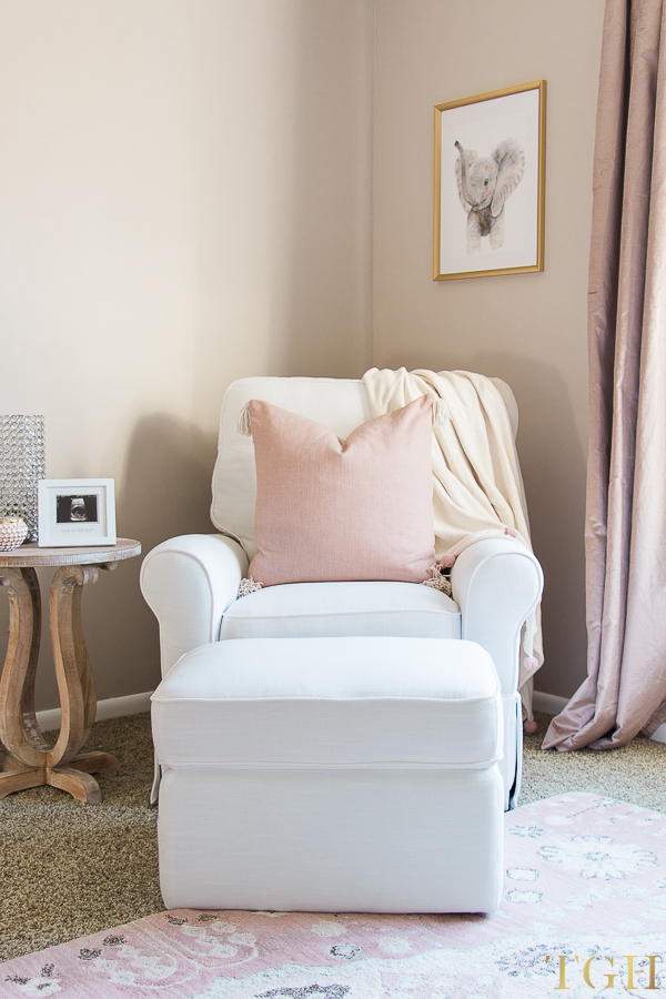White Glider and Ottoman for Nursery