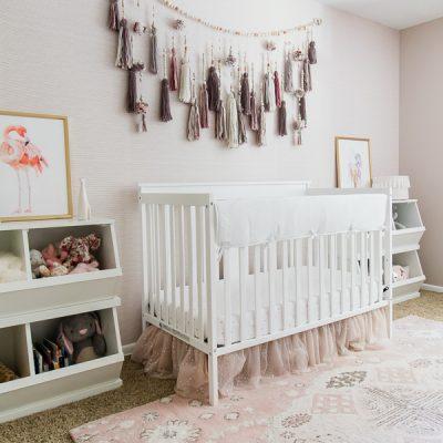 Girl nursery ideas - easy removable nursery wallpaper
