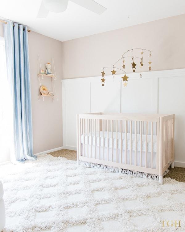 Light wood cribs for nursery