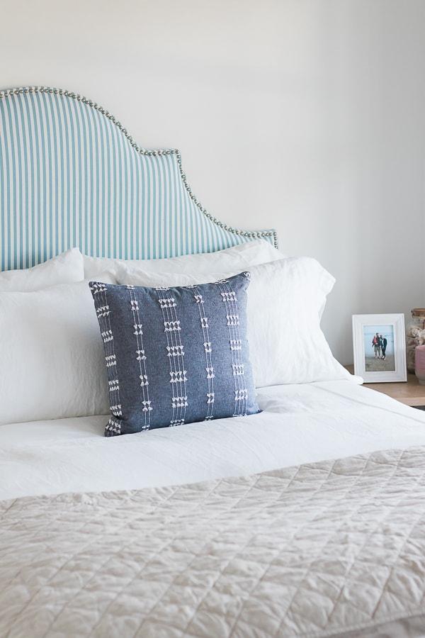 Blue denim throw pillow