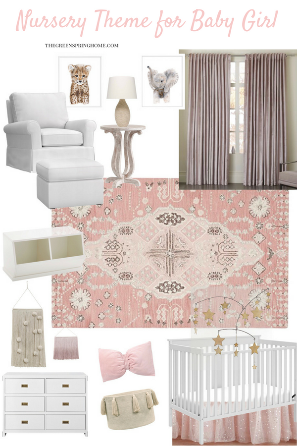 A simple, chic nursery theme for a baby girl