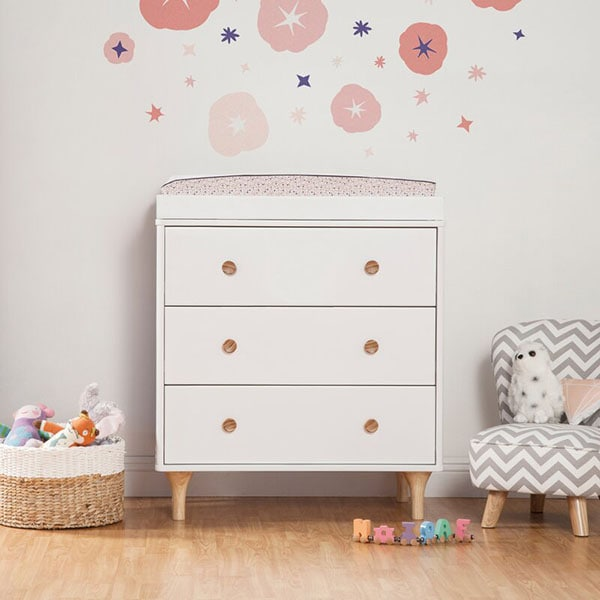 Small Space White Nursery Dresser and Changing Table
