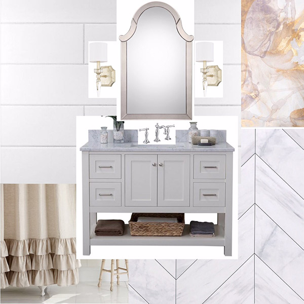 Feminine White Bathroom Design